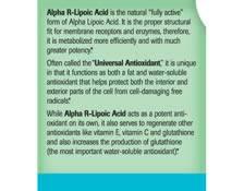Alpha R-Lipoic Acid - Label