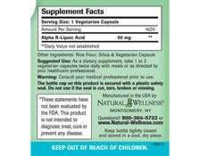 Alpha R-Lipoic Acid - Supplement Facts
