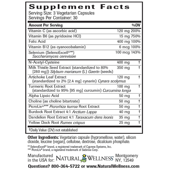 Liver Support & Detox - Supplement Facts Large