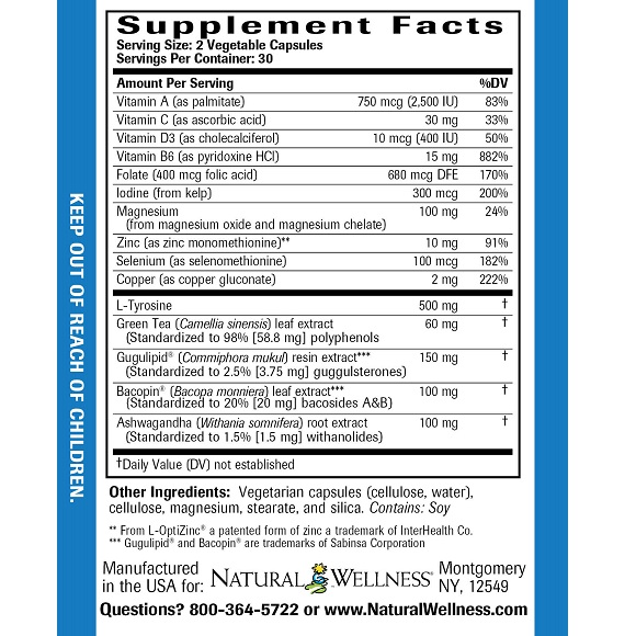 Thyroid Support - Supplement Facts Large