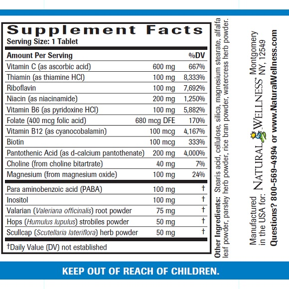 Stress Relief - Supplement Facts Large