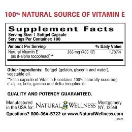 Natural Vitamin E -Supplement Facts