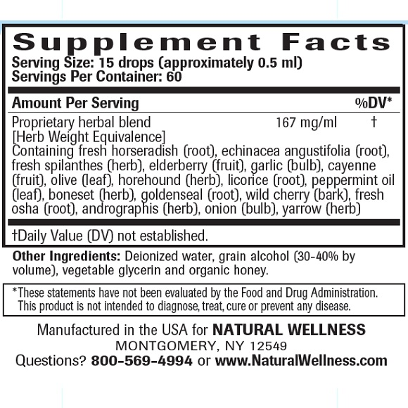 Sinus Clear - Supplement Facts Large