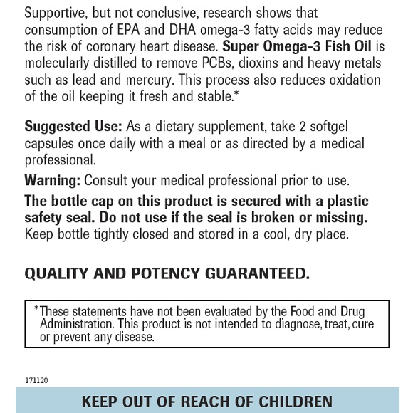 Super Omega-3 Fish Oil - Label