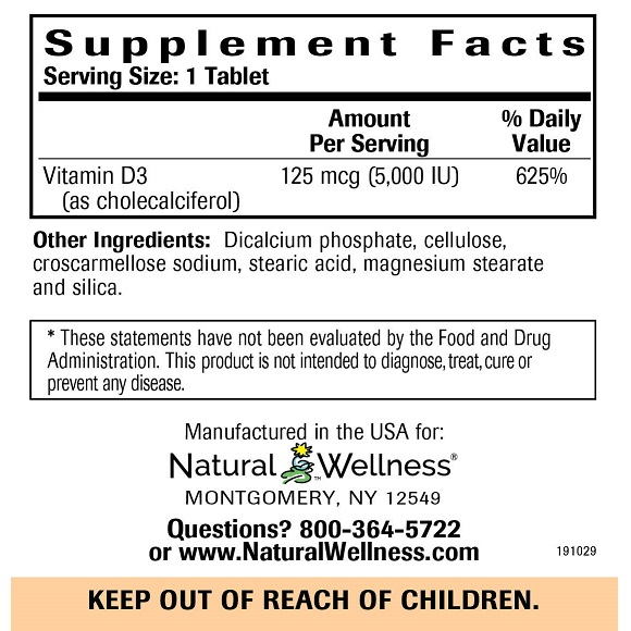 Vitamin D3 - Supplement Facts Large