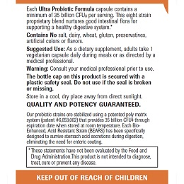 Ultra Probiotic Formula - Label