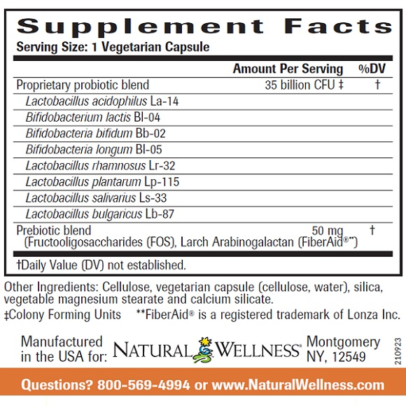 Ultra Probiotic Formula - Supplement Facts Large