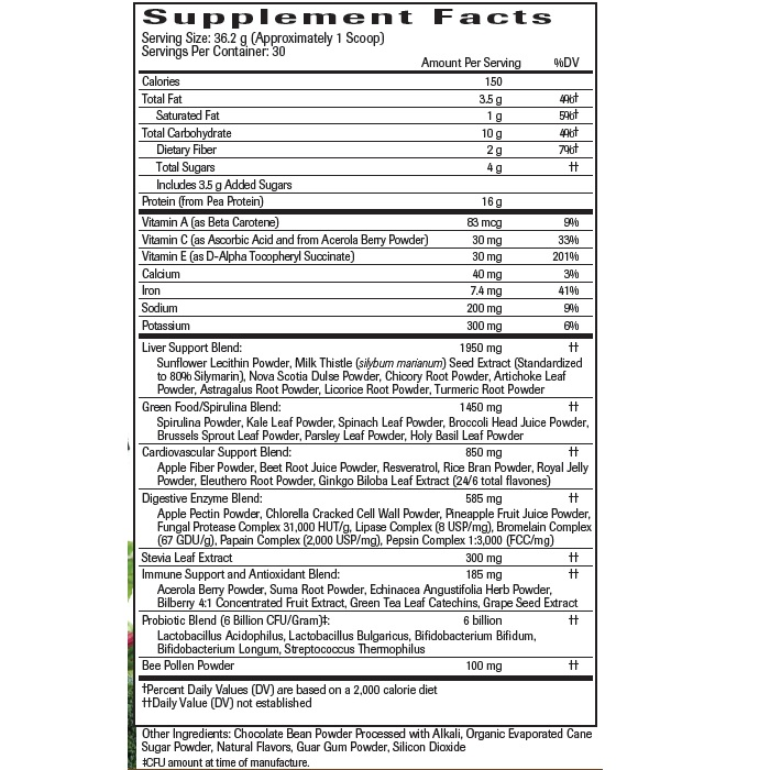 Chocolate UltraNourish - Supplement Facts Large