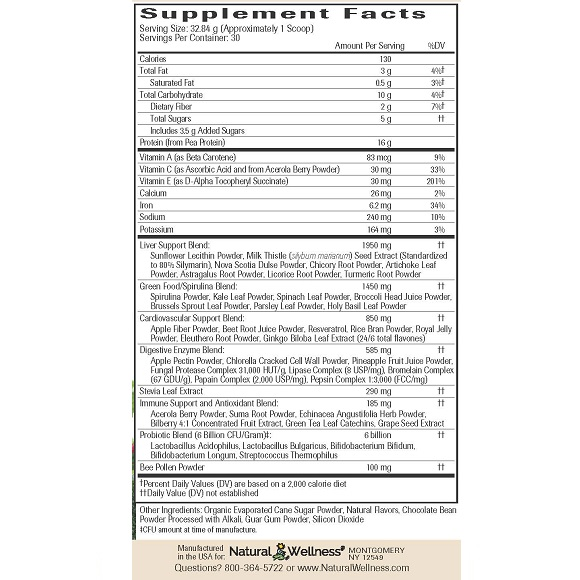 Vanilla Chai UltraNourish - Supplement Facts Large