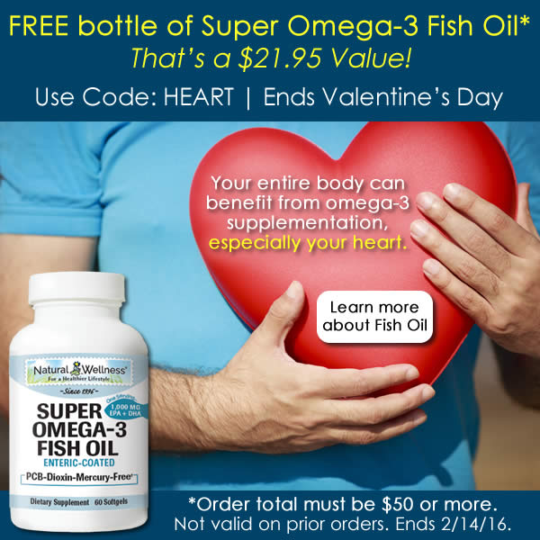 Free bottle of Omega-3 Fish Oil with any order of $50 or more